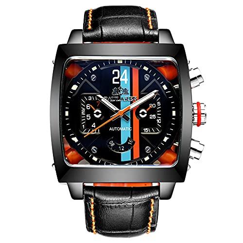 XYQC Reloj de Moda Casual Automático Mecánico Multifuncional Reloj Cuadrado de Cuero Luminoso para Hombres con Caja de Regalo,Negro