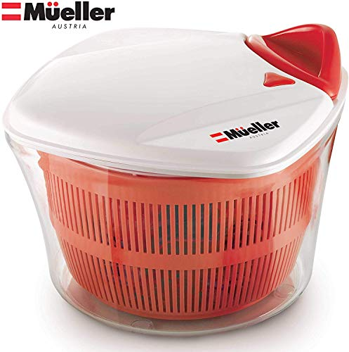 MUELLER Large 5L Salad Spinner Vegetable Washer with Bowl, Anti-Wobble Tech, Lockable Colander Basket and Smart Lock Lid