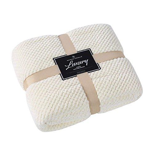 GC Super Soft Luxury Popcorn Textured Throws Fleece Blanket Sofa Bed Warm Large Settee (King :200Cm x 240Cm, Cream)