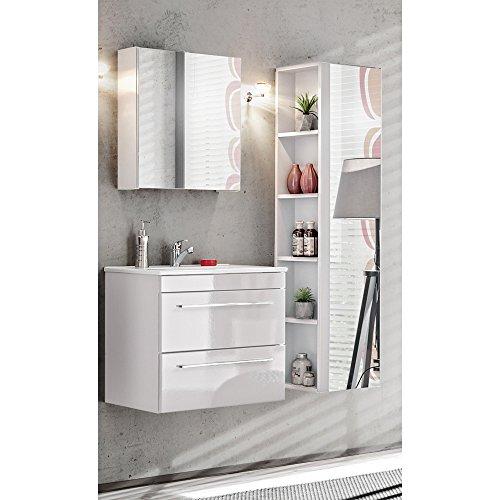 Lomadox Badmöbel Set 3-teilig Hochglanz weiß 60 cm Waschtischunterschrank inkl. Keramik Waschbecken, Spiegel-Hochschrank und Spiegelschrank