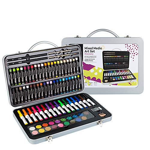 LSXX Box voor kinderen, niet giftig, geschenk voor schilderen, Deluxe Art Set, schilderij en tekenset, 174 delen, de koffer van massief hout, geschikt als geschenk voor kinderen