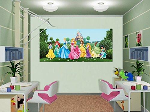 AG Design FTDh 0625 Prinzessinen Disney Princess Schloss, Papier Fototapete Kinderzimmer - 202x90 cm - 1 Teil, Papier, multicolor, 0,1 x 202 x 90 cm