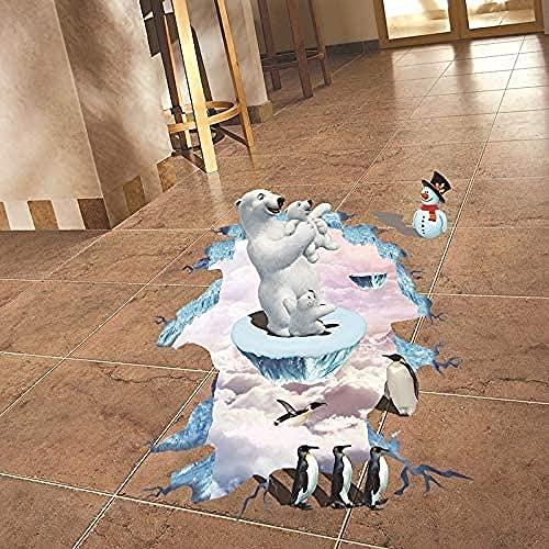 Creativo Oso Polar 3D Pegatinas De Suelo Amigable Pingüino Pegatinas De Pared Arte Pvc Vinilo Decoración Para Niños Habitación Impermeable 57X88Cm