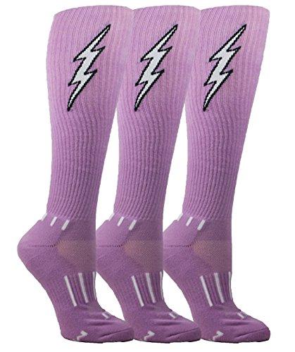 MOXY Socks Youth Lavender with Black Knee-High Insane Bolt Soccer Socks 3-Pack