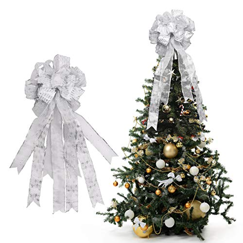 BELLE VOUS Christmas Tree Topper - 86 x 33 cm Silver and White Colour Polyester Large Toppers Bow with Streamer Wired Edge - Glitter Tree Topper Ornaments for Xmas Party Decorations