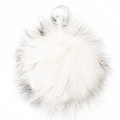 XXL Echtfell Bommel Puschel Taschen Anhänger Schlüsselanhänger Weiß XB3