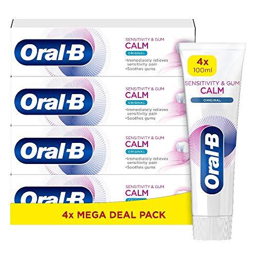 Oral-B Dentifricio Sensibilità e Gengive Calm, Donfezione da 4 Dentifrici da 100 ml, Spedito in Cartone Riciclato