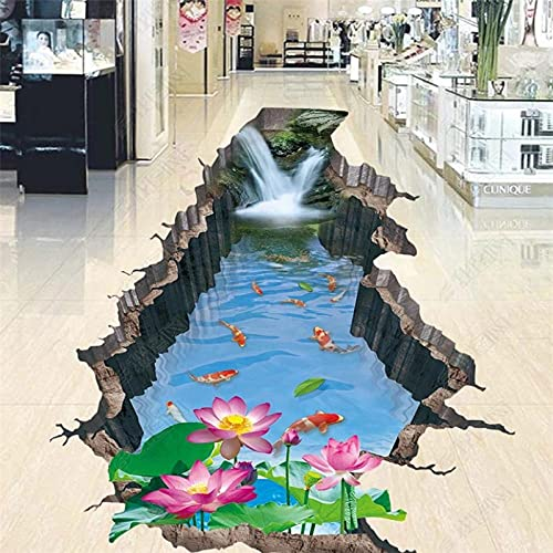 3d photo wallpapers HD double layer three-dimensional lotus nine fish outdoor mulch 3d floor wallpaper self adhesive-150 * 105cm