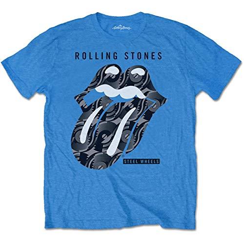 The Rolling Stones Herren Steel Wheels T-Shirt, Schwarz (Black Black), XX-Large