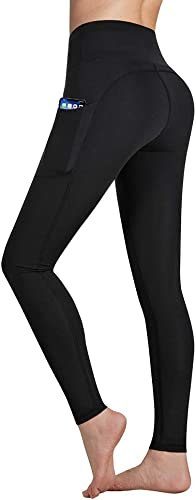 Occffy Yoga Pants for Women High Waist with Pockets Flex Leggings Tummy Control Workout Running Tights DS166