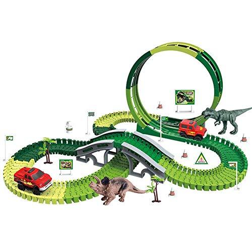 LNHJZ Dinosaur Race Track Car Toy Set, Create A Dinosaur World Road Race Juego de Pista Flexible, Pesents para niños de 3 4 5 6 años