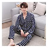 LASIMAO Pijamas de Seda Set para Hombres, Conjuntos de PJ Suave, Ropa de Dormir de Manga Larga Juego de Ropa para el hogar Botón de Ropa de Dormir Juego de Ropa de Dormir Casual,Q,L