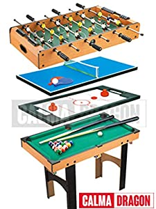 Calma Dragon Mesa Multijuegos Plegable 4 en 1 Billar, Ping Pong, Hockey y Futbolín Regalo Ideal para Toda la Familia