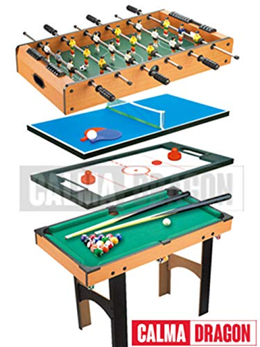 Calma Dragon Mesa Multijuegos Plegable 4 en 1 Billar, Ping Pong, Hockey y Futbolín Regalo Ideal para Toda la Familia