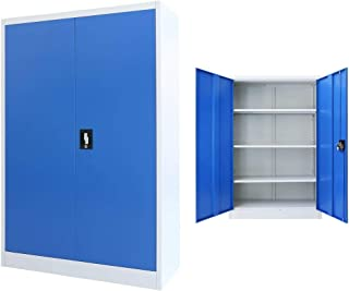 Festnight Armoire de Bureau Armoire de Rangement avec 3 étagères Réglables Métal 90 x 40 x 140 cm Gris et Bleu