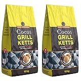 Holzkohlewerk Lüneburg Cocos Grillketts Premium Grillbriketts aus Kokos-Kohle - 20kg - extra Lange...