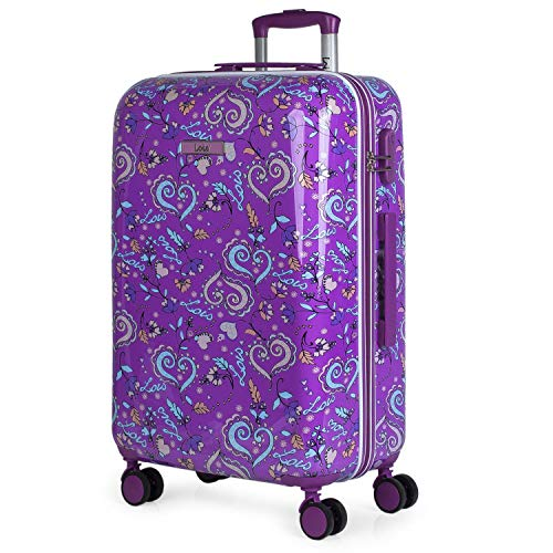 Lois - Travel Suitcase Rigid 4 Wheels Trolley 67 cm Medium Large Polycarbonate Stamped. Resistant and Lightweight Handle Handles and Padlock. Student. 130260, Color Purple