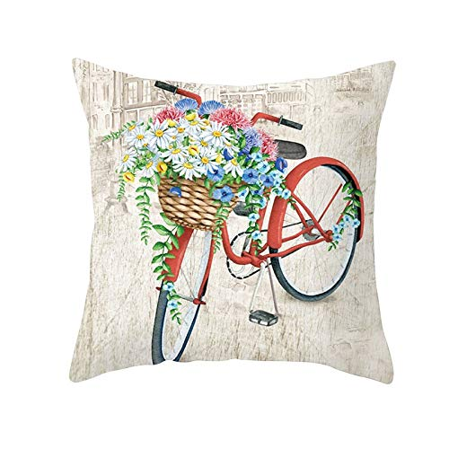 Fundas de Cojines Funda de Cojín Flor de bicicleta Cojines Decoracion Terciopelo Suave Fundas de Almohada Cuadrado para Sofá Cama Sillas Coche Dormitorio Decorativo Hogar M453 Pillowcase,40x40cm