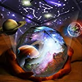 KISTRA Star Projector Night Light for Kids Room (6-Films), Infant Sleep Machine 360° Rotating LED Starry Sky Nightlight, Table Lamp, Rotatable Base, Brightness & Color Adjust, Best Gifts, SBall-001