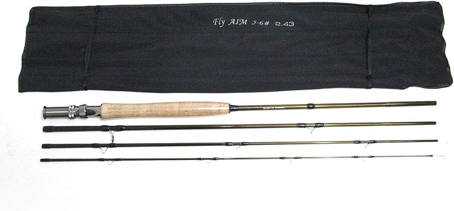FairOnly 4pcs Set 8ft 5 6  Fly Fishing Outfit Fly Rod & Fly Reel Complete Kit