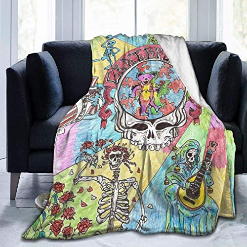 Hdadwy Manta de Microfibra Ultra Suave Grate-Ful Music Dead Throw Blanket Mantas Suaves para Dormitorio 60 'X50'