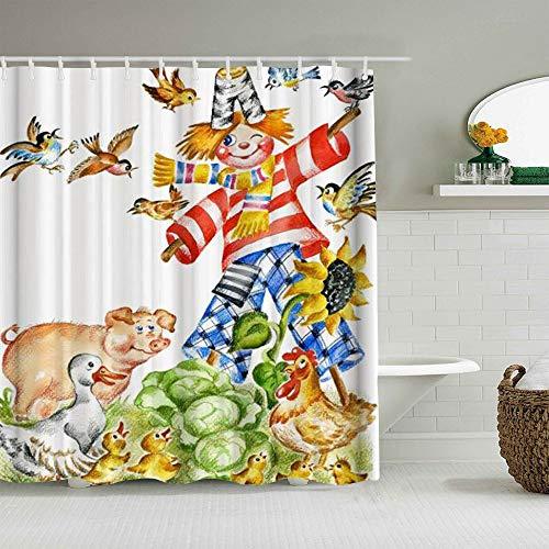 AIKIBELL Personalisierter Duschvorhang,Bauernhaus Vogelscheuche Vogel Schwein & Ente,wasserabweisender Badvorhang für das Badezimmer 180 x 210cm