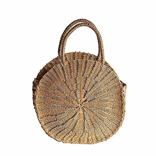 Modieuze schoudertas ronde bamboe geweven tas klassiek stroweverij zomer strandtas draagtas handtas schoudertassen milieuvriendelijk boodschappentas camel