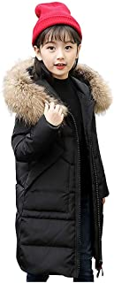 Kids Girls Winter Faux Fur Hooded Parka Down Coat Windproof Long Winter Puffer Jacket Thick Padded Overcoat
