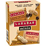 Larabar Minis Fruit and Nut Bar, Peanut Butter Chocolate Chip and Peanut Butter Cookie, 10 Count (Pack of 8)