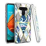 EnCASEs Cell Phone Case for LG K51/Q51/LG Reflect, Clear TPU Slim Hybrid Fashion Diamond Marble Shiny Silver Glitter Sparkle Case, IMD Pattern Shockproof Bumper Protection Cover