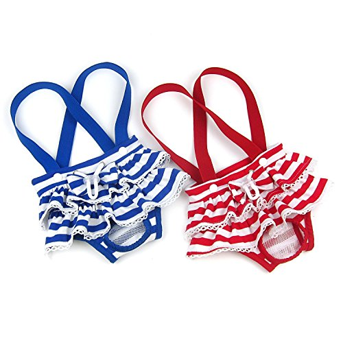 Alfie Pet - Charlotte Diaper Dog Sanitary Pantie with Suspender 2-Piece Set for Girl Dogs - Color: Blue Red, Size: Large