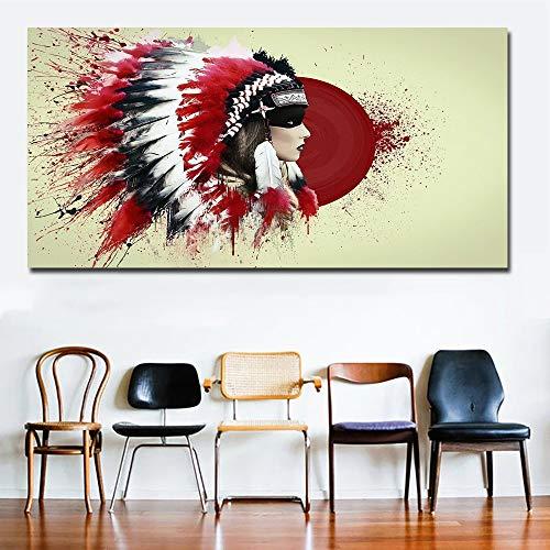 Indien Amérindien Fille À Plumes Peinture Sur Toile Pour Le Salon Grande Toile Mur Art Impressions Affiches Home Decor Sans Cadre (Size (Inch) : 70x140cm Unframed)