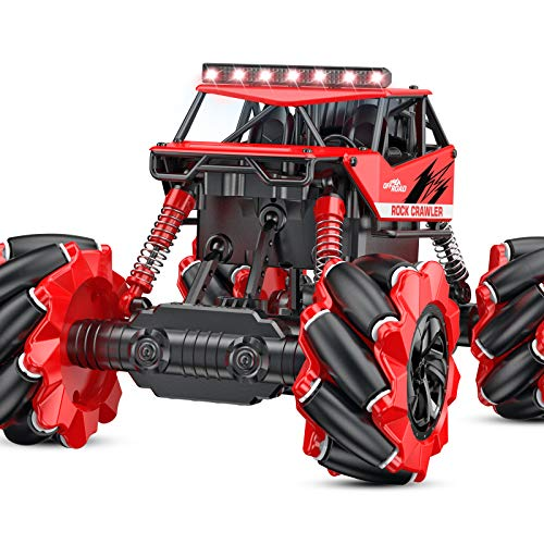 Remote Control Car NQD 1:16 Off Road Monster Truck 4WD All Terrain RC Truck 360° Rotation Rechargeable Electric Vehicle with Head Lights