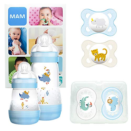 MAM First Steps Set, regalos para bebé (+0), canastilla con 2 biberones anticólicos Easy Start (160/260 ml) y 4 chupetes Original de silicona (2 x 0-2/2 x +6 meses), NIÑO (Azul)