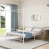 Metal Canopy Bed Frame Queen Size with Headboard and Footboard, Sturdy Steel Easy Assembly,White