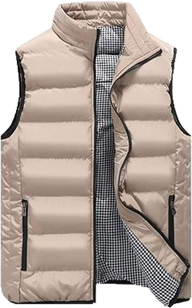 Men's Classic Padded Vest Stand Collar Zip Sleeveless Solid Winter Quilted Down Waistcoat Tops