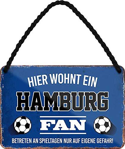 Blechschilder HIER WOHNT EIN Hamburg Fan Hängeschild für Fußball Begeisterte Deko Artikel Schild Geschenkidee 18x12 cm