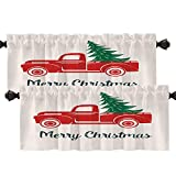 Batmerry Red Car Christmas Tree Kitchen Valances Half Window Curtain, Red Vintage Retro Truck and Christmas Tree Kitchen Valances for Windows Valance for Decor Reducing The Light 52x18 Inch