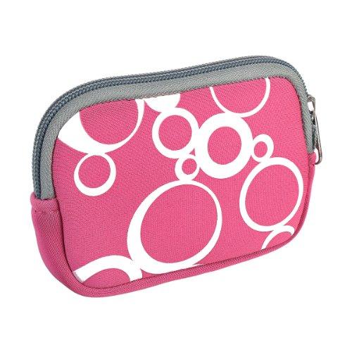 vyvy mobile® stylische Neopren Universal Kameratasche für Kompaktkameras Circles Pink