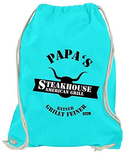 HARIZ Turnbeutel Papas Steakhouse Grill Geburtstag Inkl. Geschenk Karte Azur Blau One Size
