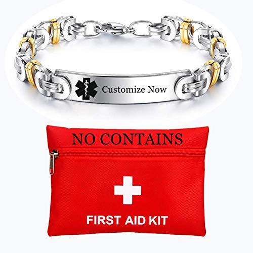 ForeverWill Medical Alert Device Implant NO MRI Armband Anpassbare Edelstahl Medic ID Byzantinische Armbänder für Frauen, kostenlose Gravur