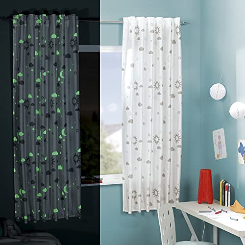 Delindo Lifestyle® Cortina fluorescente MAGIA para habitación infantil, 145x175 cm, para niños con estrellas, blanco moderno