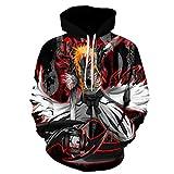 Men Anime_Bleach 3D Print Pullover Hoodie Sweatshirt with Front Pocket (BX,L)