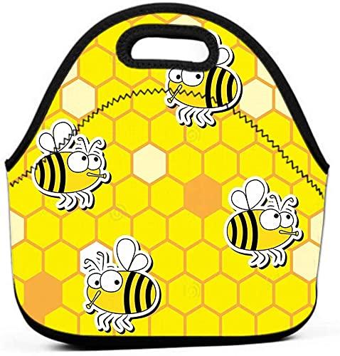 Bolsa aislada, a prueba de fugas, reutilizable, ecológico, enfriador, abejas, patrones sin fisuras, divertido fondo de panal