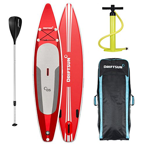 "Driftsun 11' 8"" Touring SUP Inflatable Paddle Board Stand Up SUP Package Travel Backpack, Adjustable Paddle and Coil Leash. 11.8 Feet Long, 31 Inches Wide, Red"