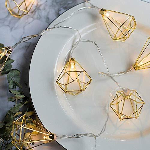 Metall Lichterkette, Geometrische Lichterketten 3M 20 LEDs Diamant Lichterketten Geometrische Rose Gold Metall Lichterketten Batterie für Weihnachten Home Party (Diamant 3)