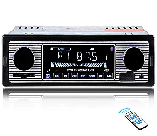 Car Stereo for Bluetooth, Single Din, 60Wx4 Hands-Free Calling FM Radio Receiver, USB/SD/AUX Port, Support MP3/WMA/WAV, Dual Knob Audio Car Radio Player, Built-in Microphone, Wireless Remote Control