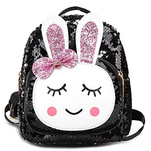 Kindertasche 2019 Sommer Neue Umhängetasche Weibliche süße Farbverlauf Pailletten Kaninchen Rucksack Trend Eltern-Kind-Tasche schwarz
