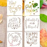 LLGLTEC 6 Pieces Fall Stencils Thanksgiving Decor Stencils Floor Tile Template 7.9''x7.9'' Extra Large Reusable Plastic DIY Drawing Crafts for Painting on Wood, Paper, Fabric, Glass, Wall Art