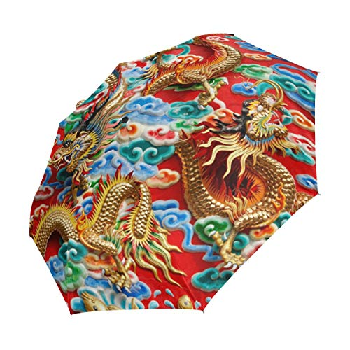 XiangHeFu Ombrello Vintage Asiatico con Drago Cinese, Apertura Automatica, 3 Pieghe, Leggero, Anti-UV
